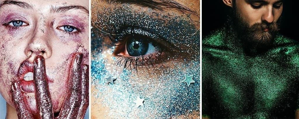 PURPURINAS sueltas y en gel para Maquillaje